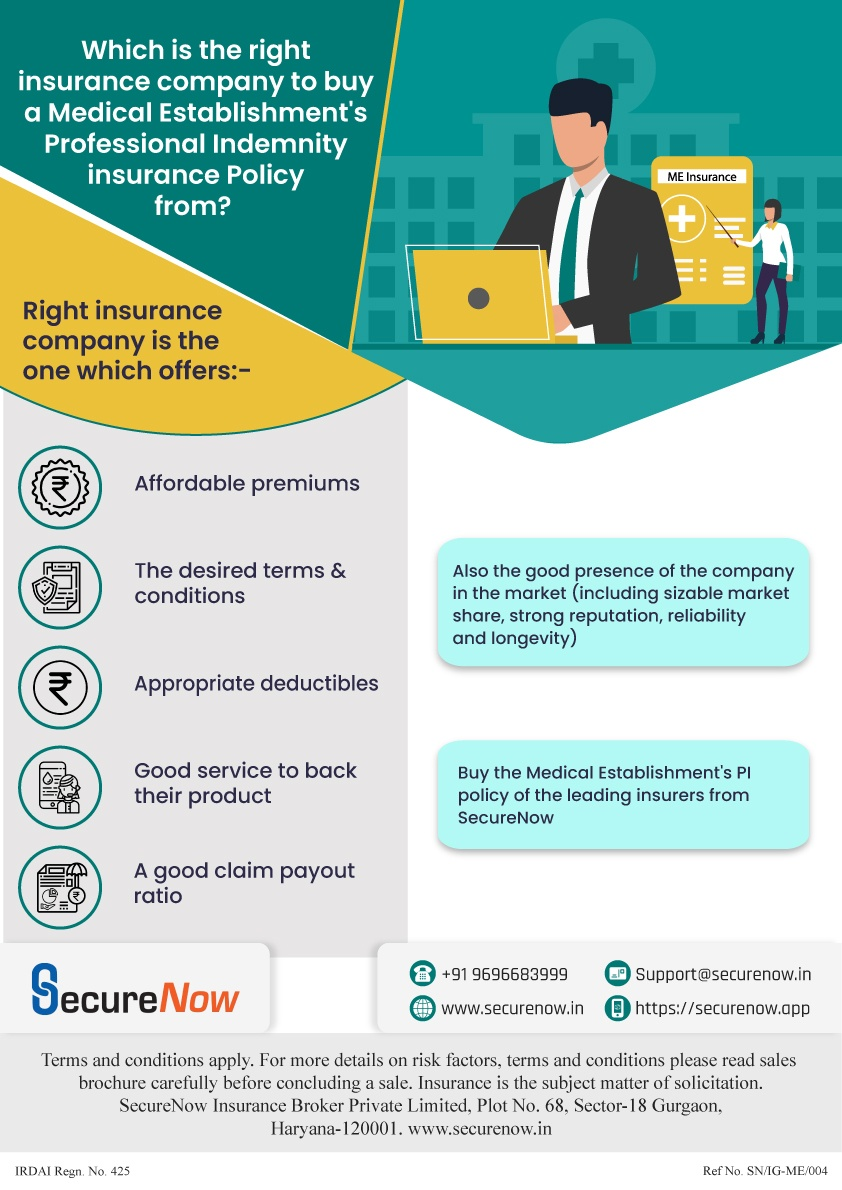 Right insurance provider for medical establishment's indemnity policy - Infographic Below infographic explains various factors basis of which you can choose right insurance company for your medical establishment's indemnity plan.