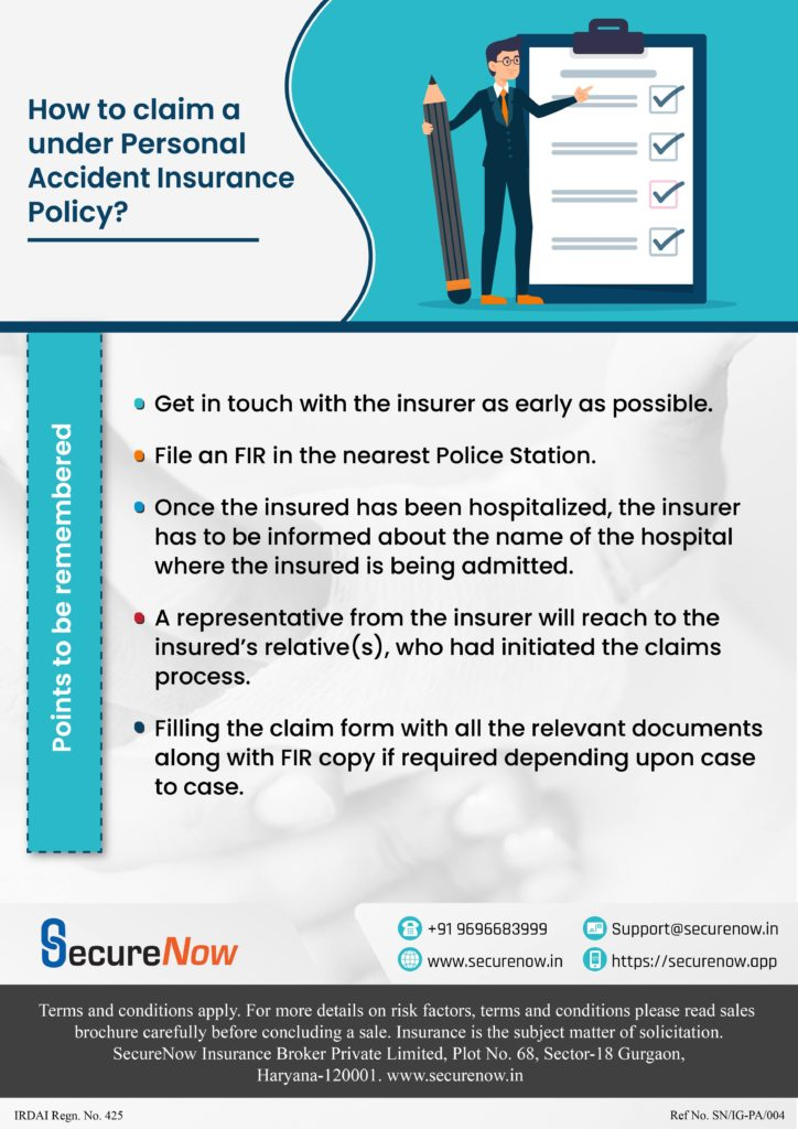 The image is used to display the easy and hassle free claim process under Personal Accident cover by SecureNow