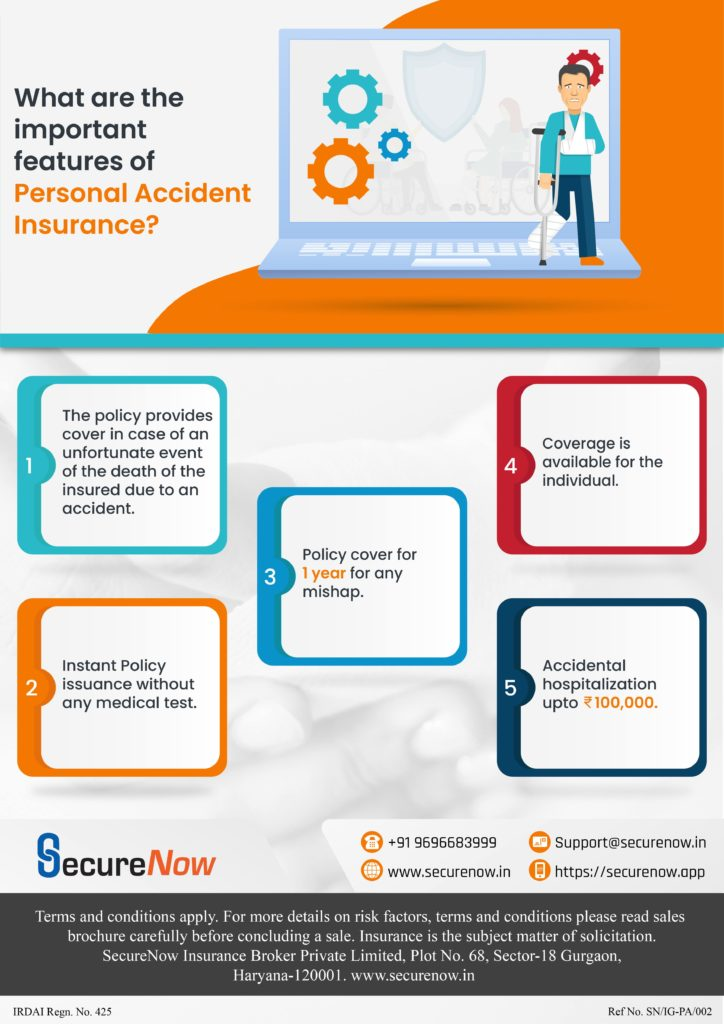 The infographic explains the features of Personal Accident cover